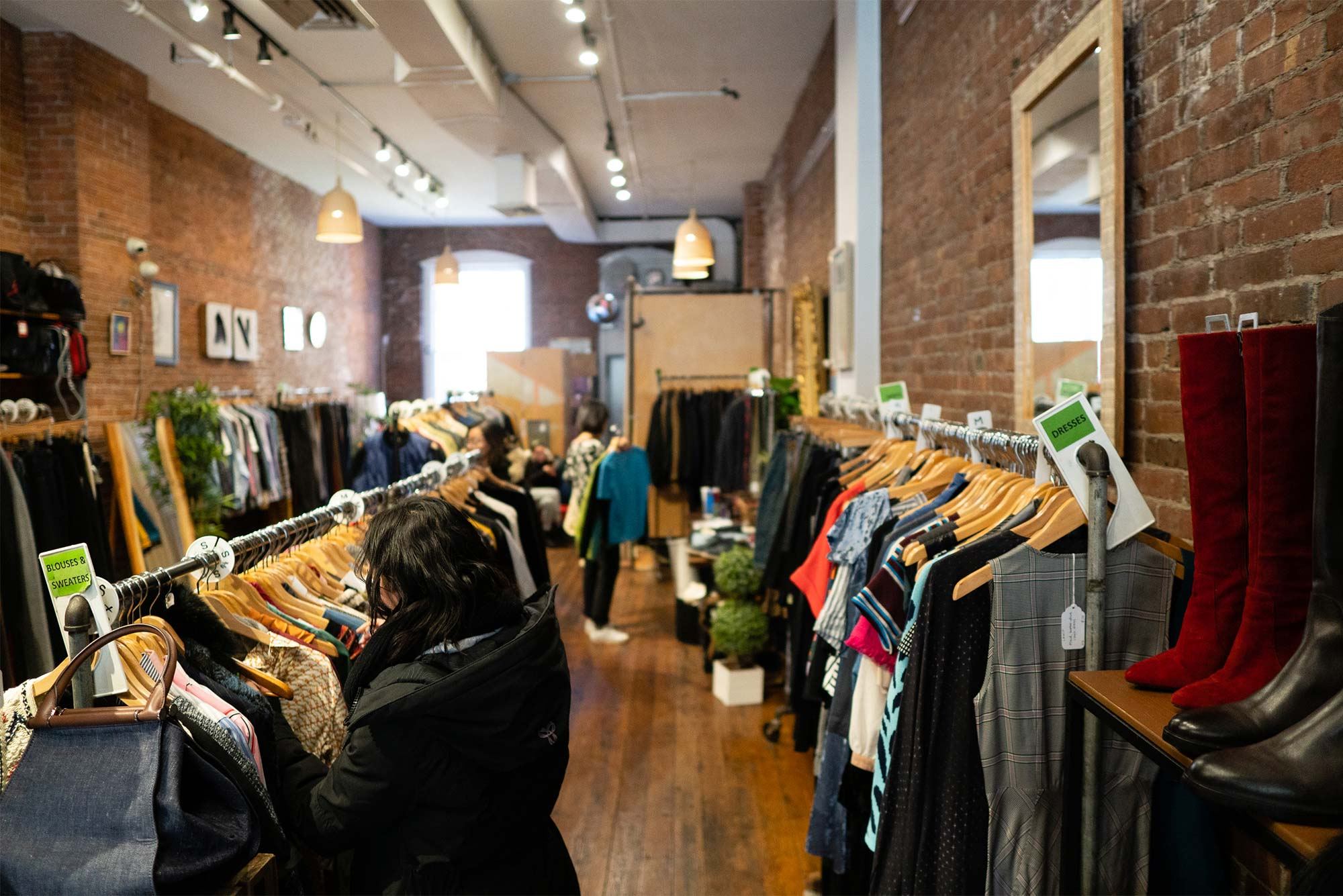 Interior view of Boomerangs Special Edition thrift shop located at 1407 Washington St. in Boston's South End neighborhood.