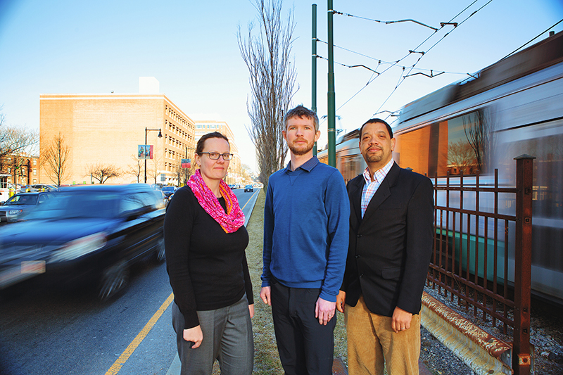 Lucy Hutyra, Conor Gately, and Ian Sue Wing, from the GRS department of earth and environment, developed a new way to measure CO2 emissions from cars. The new system, called DARTE, could help cities combat climate change. Photo by Michael D. Spencer