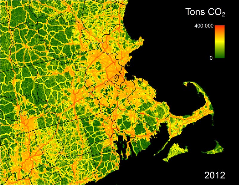 "Conor Gately's map of Boston and surrounding areas shows CO2 ""hotspots""—major highways and dense urban areas."