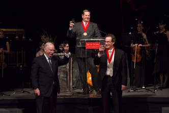 President Robert A. Brown, Robert A. Knox, and Richard C. Shipley at the Campaign for Boston University Gala