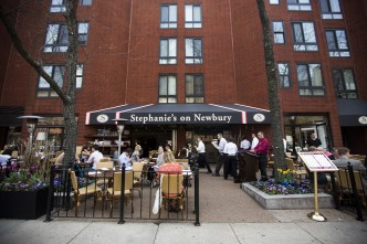 With its sidewalk tables, Stephanie's on Newbury in Boston's Back Bay is the perfect setting for a leisurely lunch or romantic dinner. Photograph by Esther Ro (COM'15)