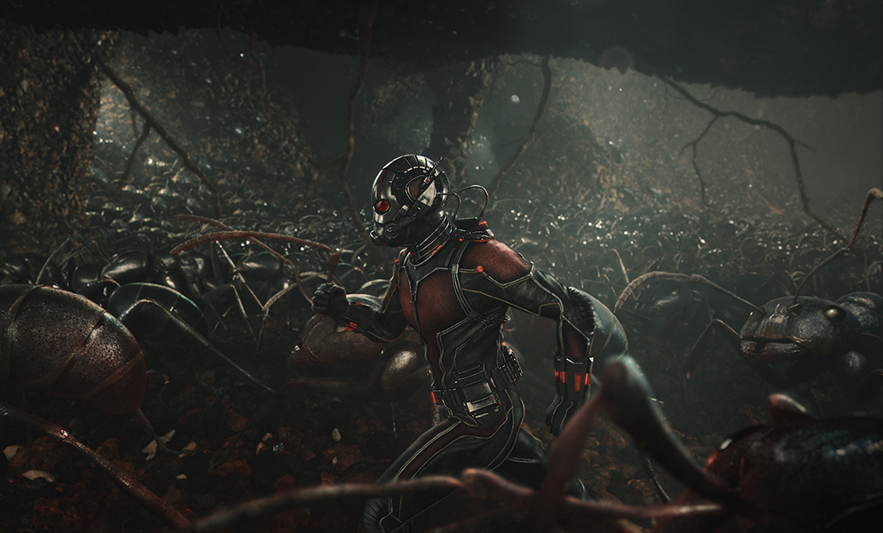 Ant Man running with a colony of ants in the 2015 Ant Man movie
