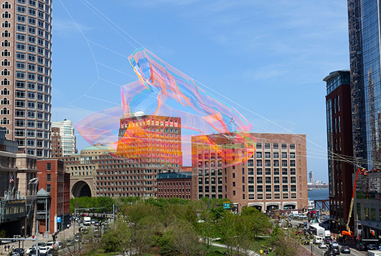Janet Echelman's sculpture above the Rose Kennedy Greenway in Boston