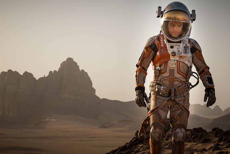 In the new sci fi blockbuster The Martian, Matt Damon plays botanist Mark Watney, who gets stranded on Mars and survives through scientific ingenuity and derring-do. Photo by Aidan Monaghan