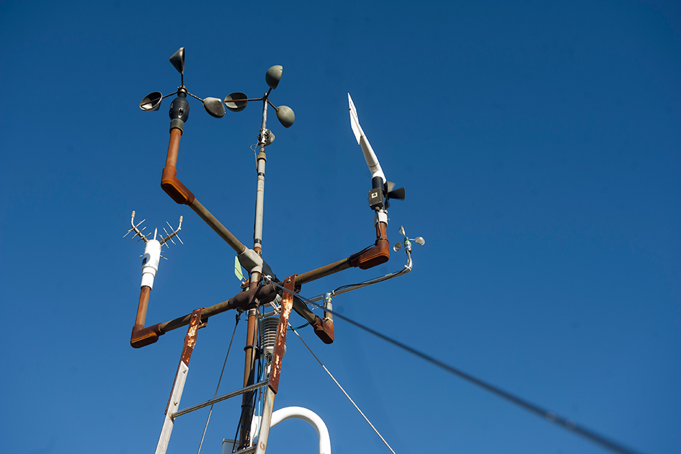 array of anemometers atop the observatory tower at Blue Hill Observatory