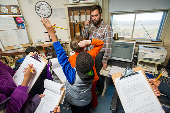 Brian Fitzgerald gives students a tour of Blue Hill Observatory