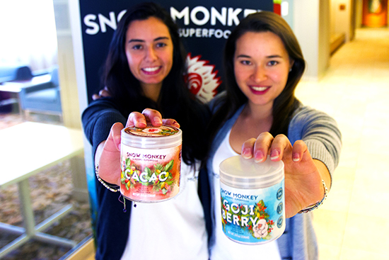 Rachel Geicke (SHA '15) (right) and Mariana Ferreira (SMG '16) launched their Kickstarter for Snow Monkey, a healthy ice cream alternative