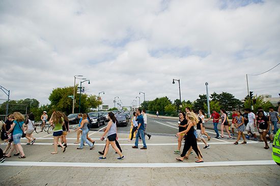 students crossing street