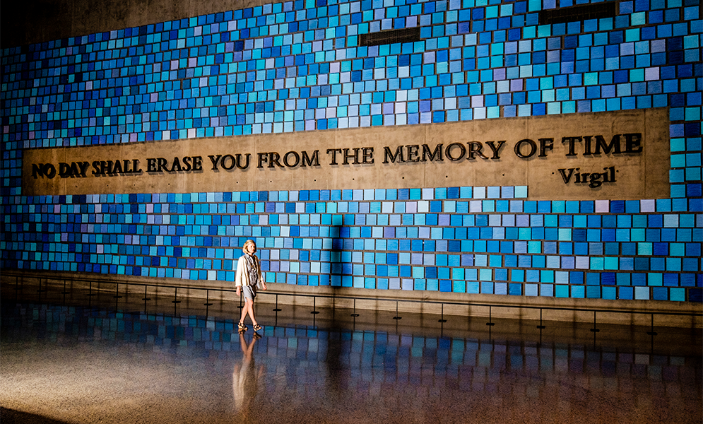 9/11 Memorial Museum Head Curator Jan Seidler Ramirez walks in front of the Virgil Quote exhibit at the 9/11 Memorial Museum
