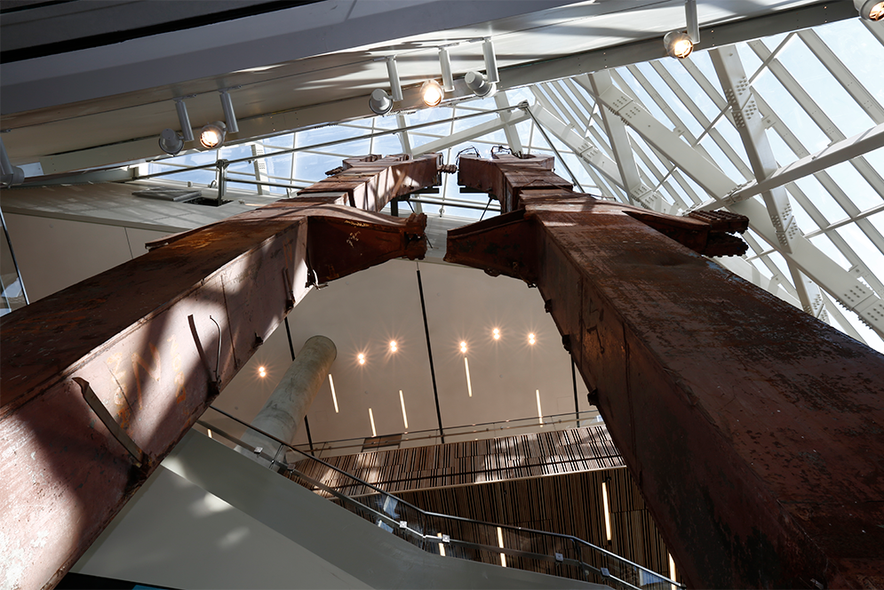 seven-story steel tridents from the original World Trade Center on display at the 9/11 Memorial Museum in New York City