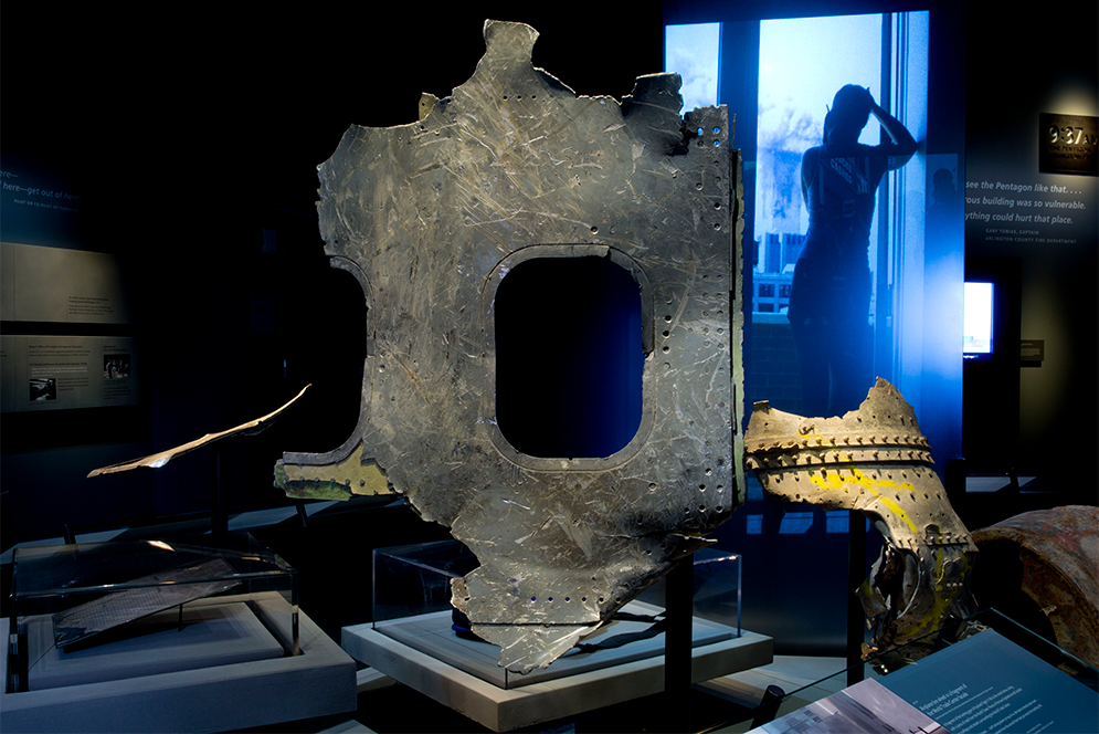 Fuselage from American Airlines Flight 11 on display at the 9/11 Memorial Museum in New York City