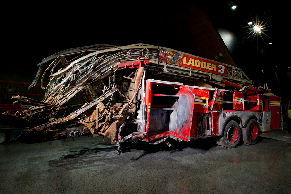Destroyed truck of FDNY Ladder Company 3 on display at the 9/11 Memorial Museum