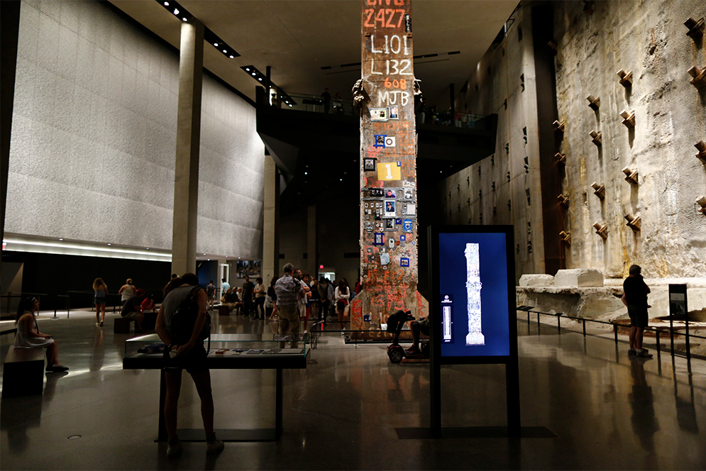 Last Column, final steel beam removed from Ground Zero on display at the 9/11 Memorial Museum in New York City