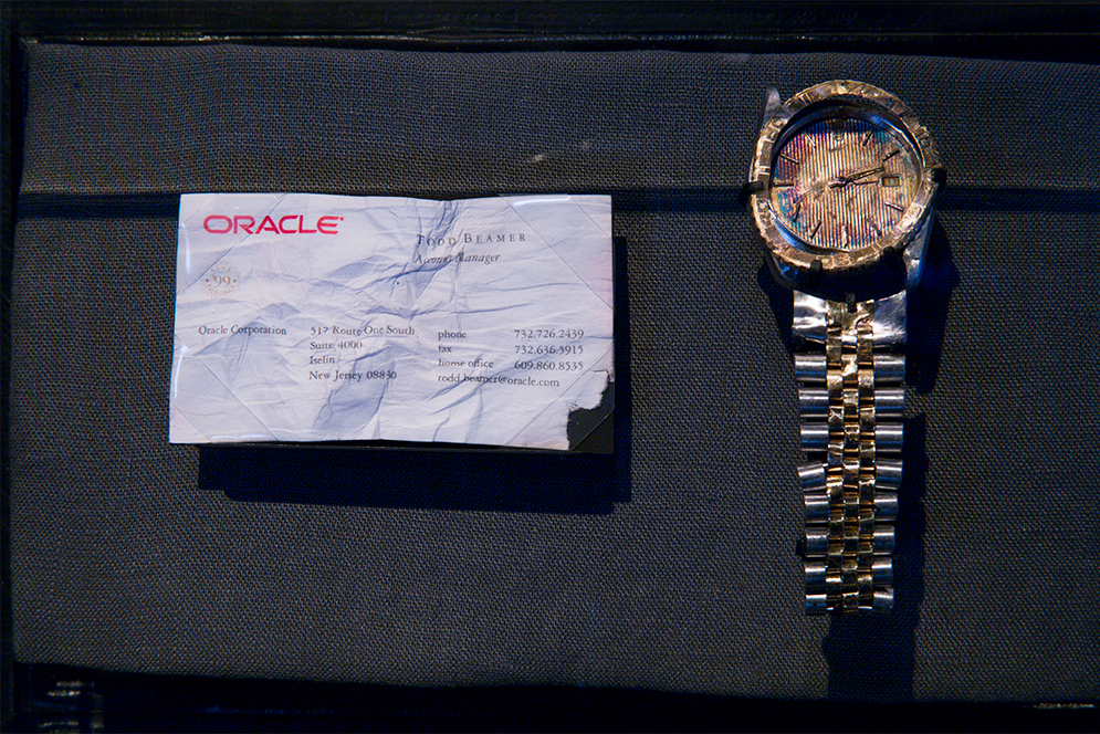Wristwatch and business card of Todd Beamer on display at the 9/11 Memorial Museum in New York City