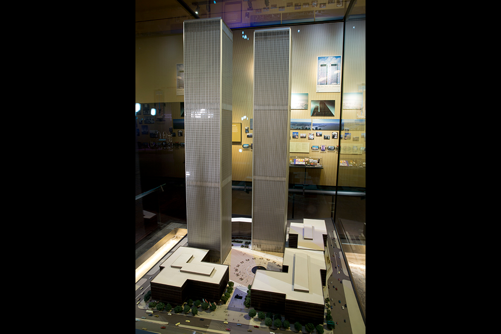 Original model of the World Trade Center by the architect Minoru Yamasaki on display at 9/11 memorial museum in New York City