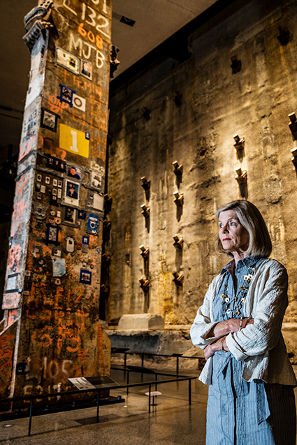 Portrait of 9/11 Memorial Museum's Head Curator Jan Seidler Ramirez near the Last Column located in the Museum's Foundation Hall exhibit area