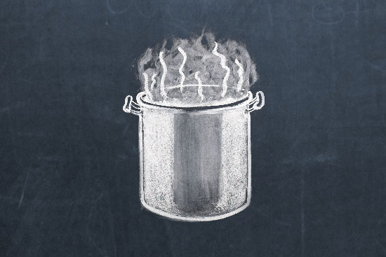 chalk drawing of a steaming stockpot