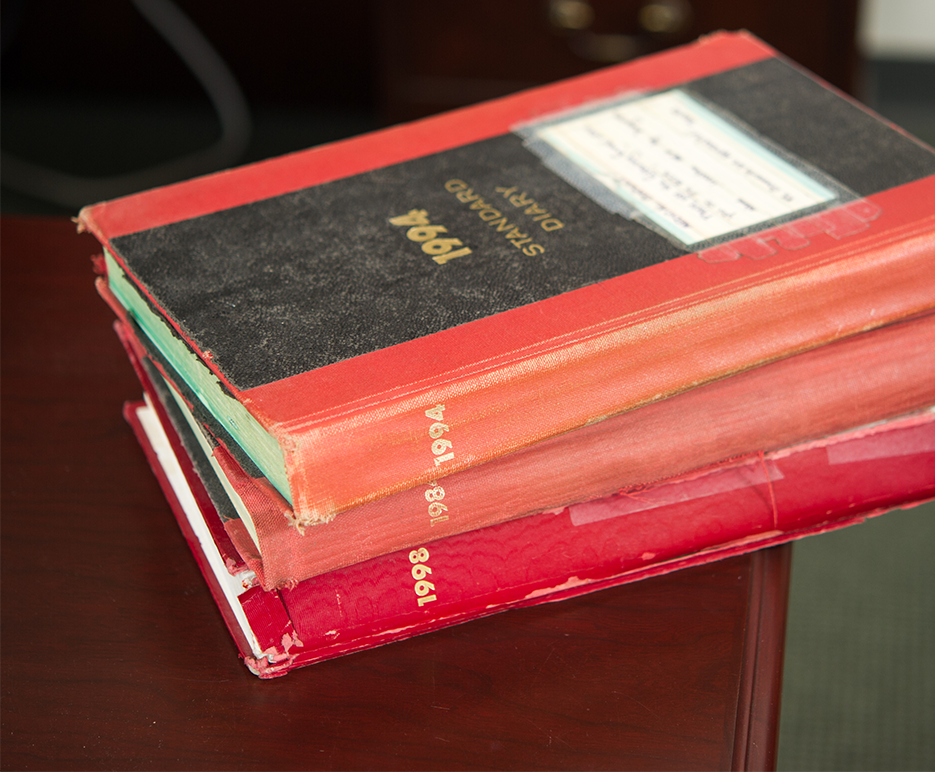 Yearly editions of The Book Boston City Hospital record book in the office of Angela Jackson, Associate Dean, Boston University School of Medicine
