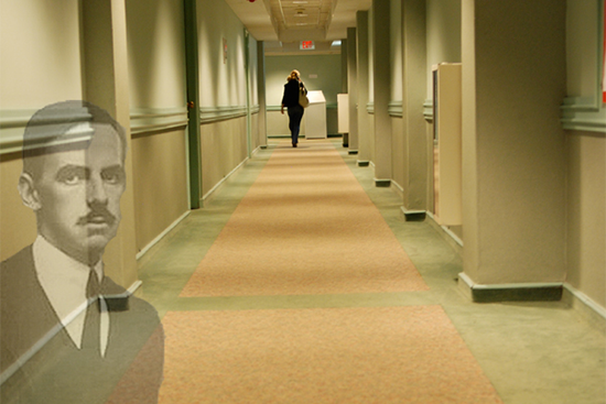 the ghost of Eugene O'Neill in Shelton Hall (now known as Kilachand Hall) at Boston University