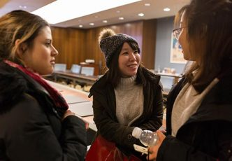 Andreina Dezzeo, Elaine Kuo, and Daphne Shen attend the Boston University School of Hospitality Administration Master of Management in Hospitality open house