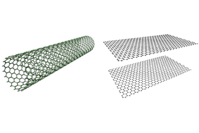 Graphene sheets can be stacked horizontally to form channels, called graphene nanochannels, or rolled into carbon nanotubes.