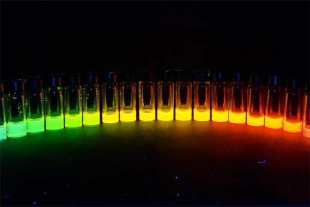 Quantum dots glow different colors under UV light depending on their size. Dennis and her colleagues are developing dots that will respond to deep red and near-infrared light—same idea, not as pretty.