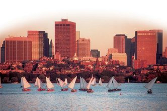 Sail boats on the Charles River