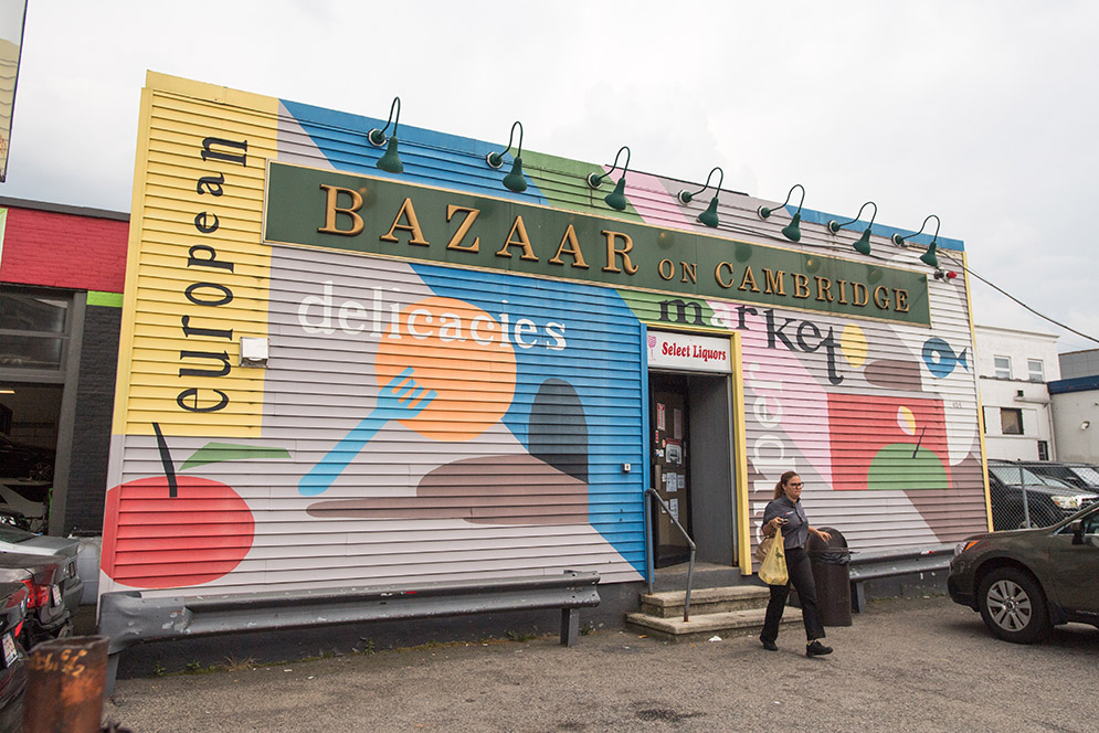 Exterior view of the Bazaar on Cambridge Eastern European market in Allston, MA