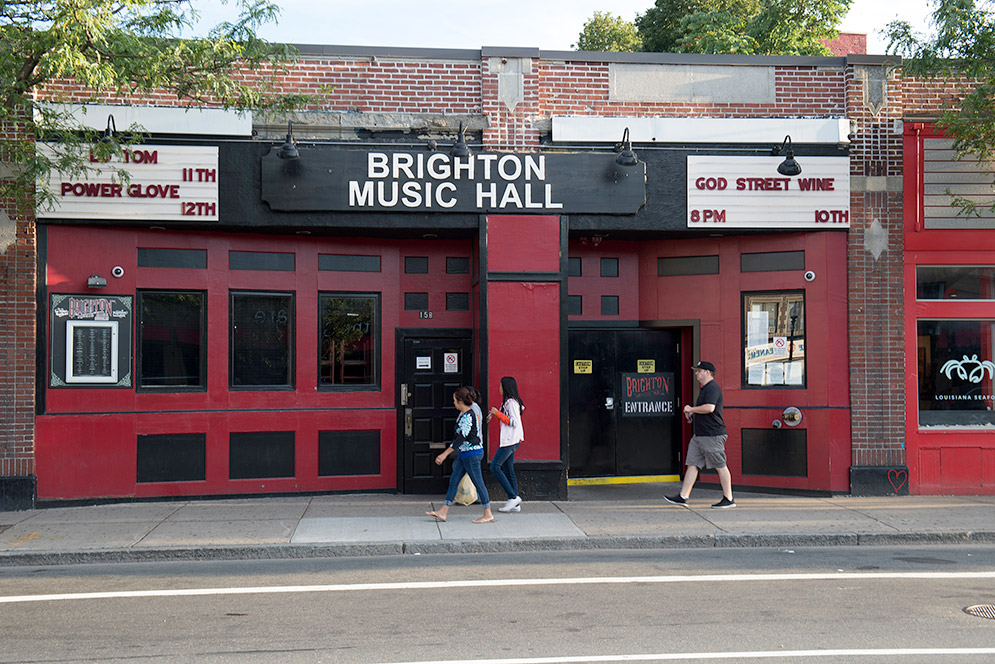 Exterior view of Brighton Music Hall rock club in Allston, MA