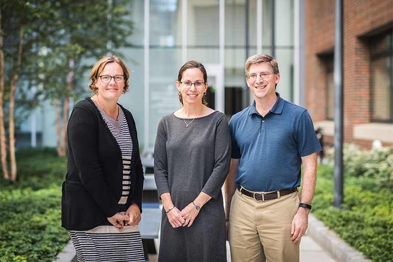 Portrait of Boston University faculty Pamela Templer, Lucy Hutyra, and Jonathan Levy