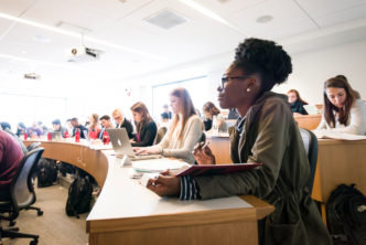 Students in class at BU. Photo by Tim Llewellyn