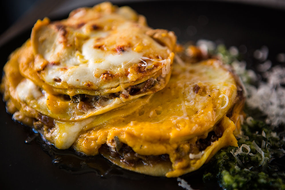 Arnoff makes the lasagna noodles he uses in his butternut squash lasagna.