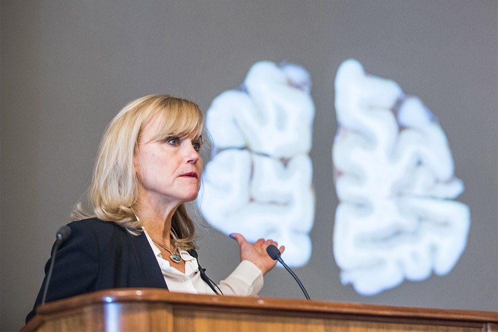 Boston University CTE expert Ann McKee speaks at a press conference showing results of research on the brain of former NFL player Aaron Hernandez who had CTE