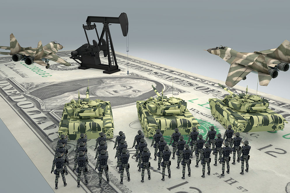 Graphic illustration symbolizing the cost of waging modern warfare