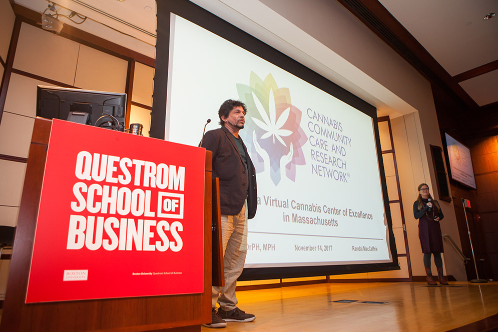 Cofounders of the start-up Cannabis Community Care and Research Network pitch their busines idea at the Cannabis Start-up Competition at the Questrom School of Business