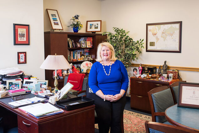 BU's dean of admissions shows souvenirs she's collected from traveling the world meeting hopeful applicants.