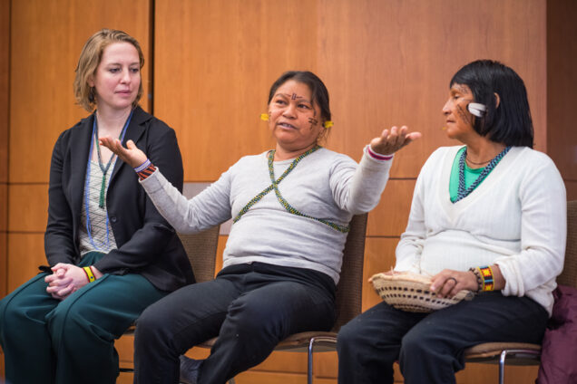 Yanomami women's leaders Floriza da Cruz Pinto and Maria de Jesus Lima, speak at BU Hillel about struggles over indigenous lands in the Brazilian Amazon.