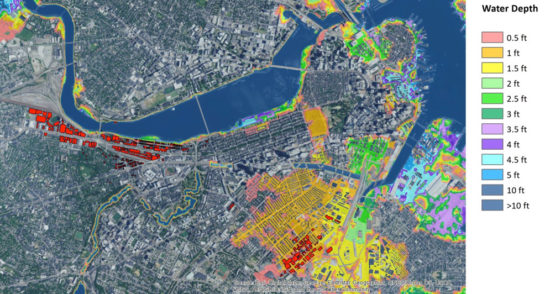 These illustrations show water levels during a 1-in-100-year flooding event in Boston today and in 2070 (BU campuses in red). The data come from the Woods Hole Group and are based on climate projections from the <a href=