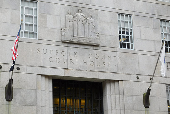 Entrance to the Suffolk County Courthouse in Boston, MA