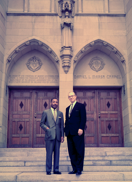 Dr. Martin Luther King Jr. on the steps of Marsh Chapel with Boston University President Harold Case