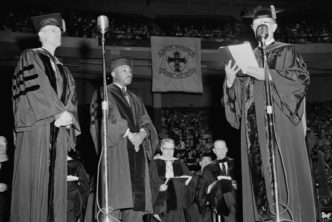 Martin Luther King, Jr., receiving an honorary degree from BU