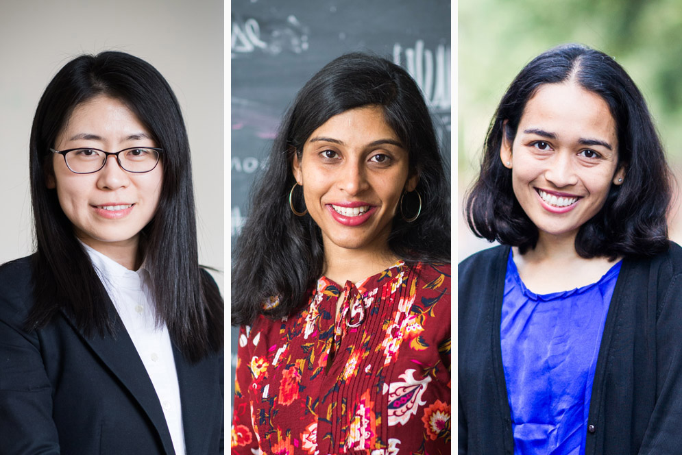Wen Li (from left), Anushya Chandran, and Jennifer Balakrishnan have received 2018 Sloan Research Fellowships.