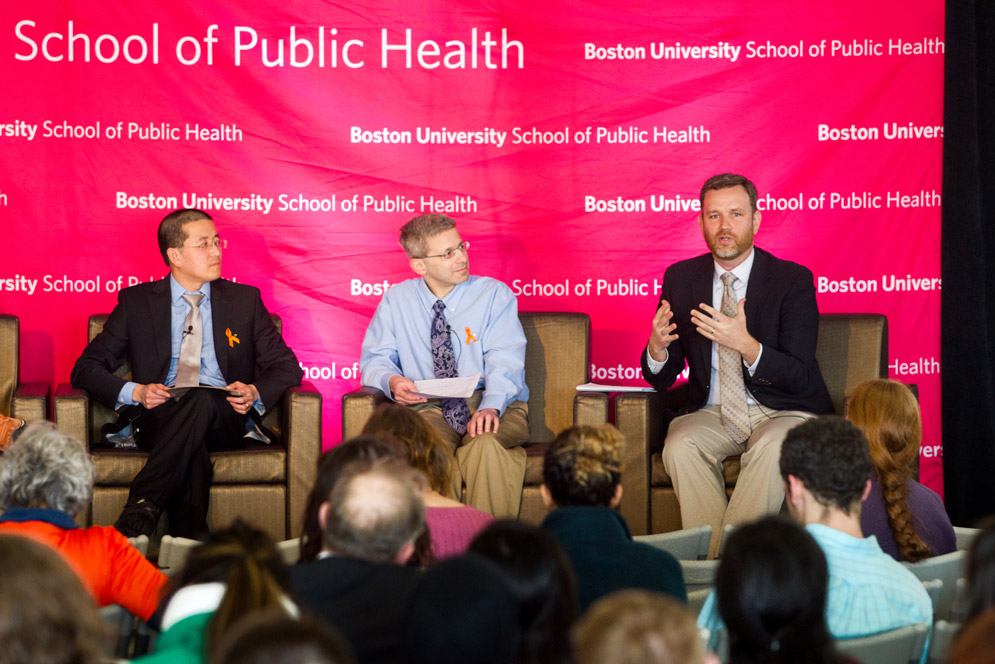 Ziming Xuan, Michael Siegel, and David Jones speak at a Community Forum on Gun Violence at the Boston University School of Public Health on March 14, 2018.