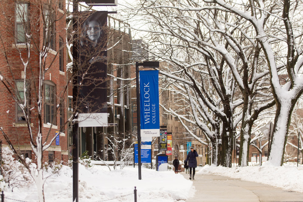 Wheelock campus covered in snow.