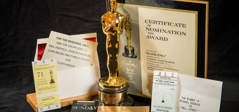 Items from a collection of Academy Awards history at the Howard Gotlieb Archival Research Center at Boston University