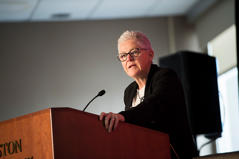 Former EPA Administrator Gina McCarthy speaks at the Boston University School of Public Health symposium on climate change
