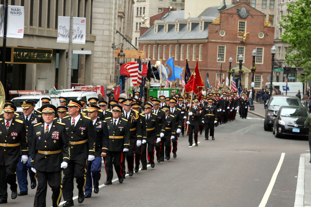 Hundreds of members of the Ancient and Honorable Artillery Company of Massachusetts will march from Faneuil Hall to the Boston Common and on to the Old South Church. Photo courtesy of the AHAC