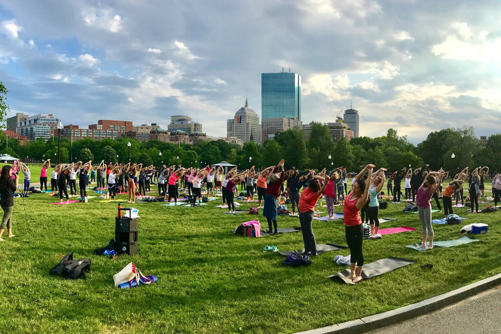 summer yoga nights at Boston Common's Frog Pond