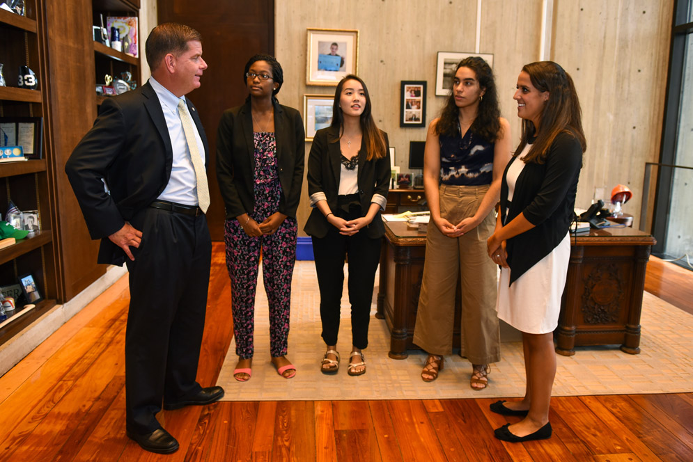 Mayor Martin Walsh speaks with summer interns