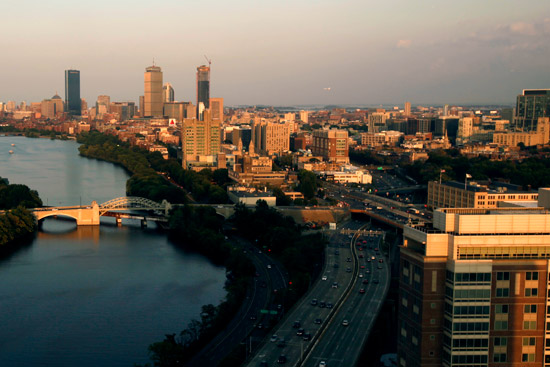 Boston city at dusk